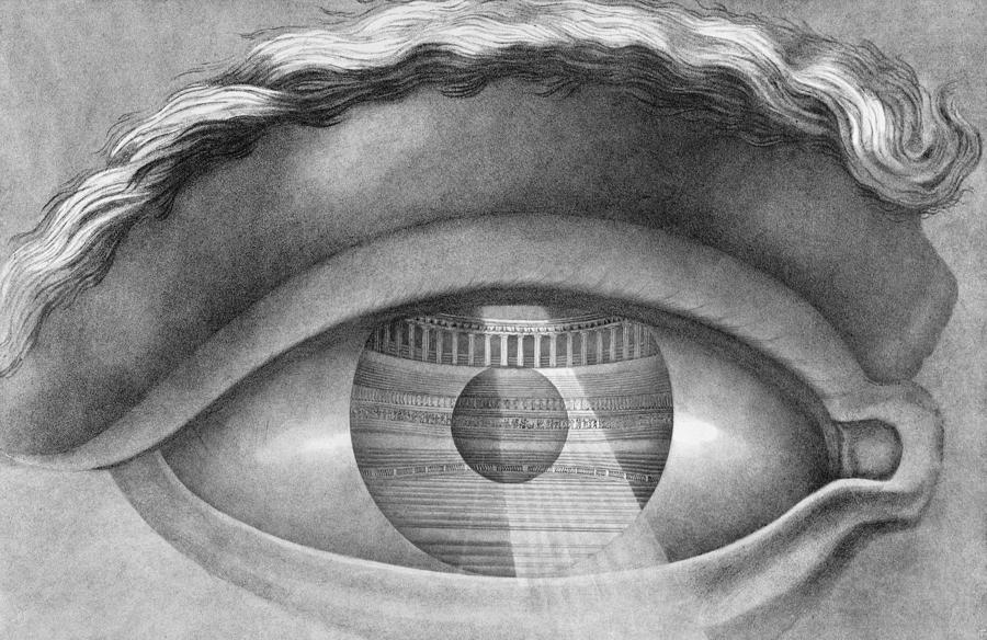 L'oeil Drawing - Eye Enclosing The Theatre At Besancon France by Claude Nicolas Ledoux
