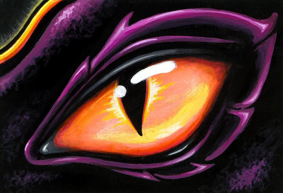Fantasy Dragon Painting - Eye Of Sun Aura by Elaina  Wagner