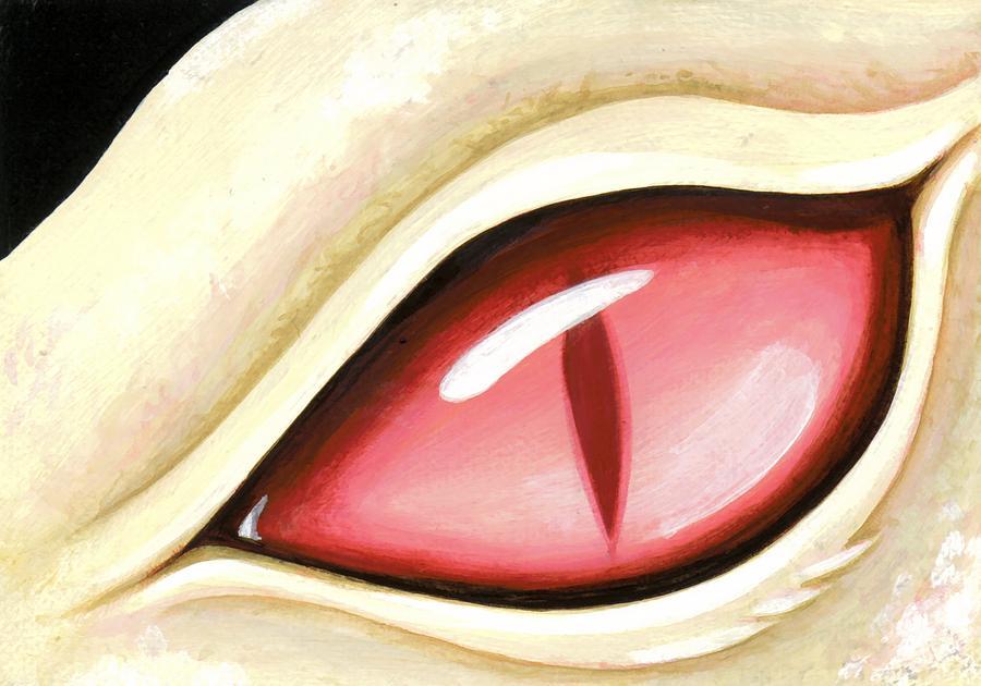 Fantasy Dragon Painting - Eye Of The Albino Dragon by Elaina  Wagner