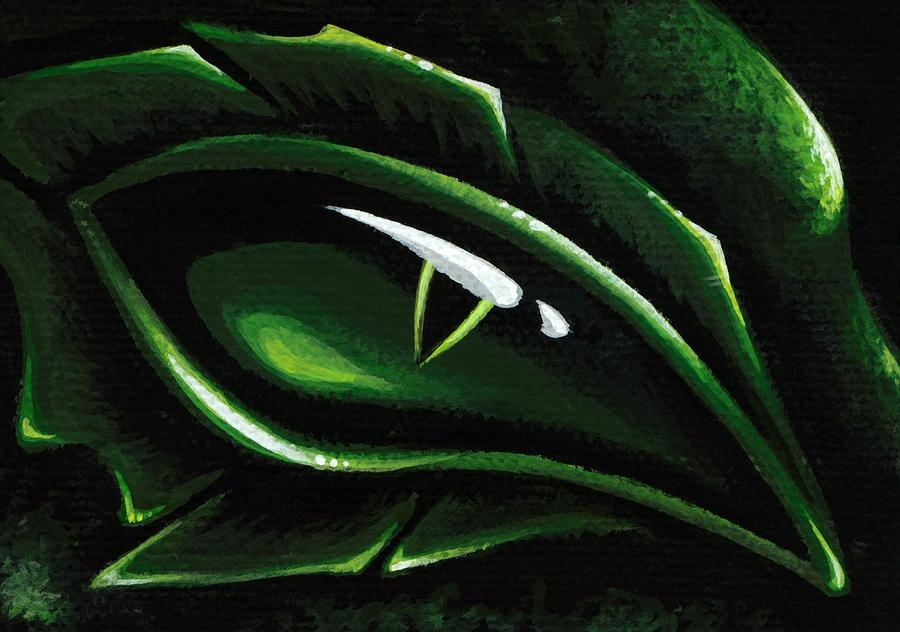 Green Dragon Painting - Eye Of The Emerald Green Dragon by Elaina  Wagner