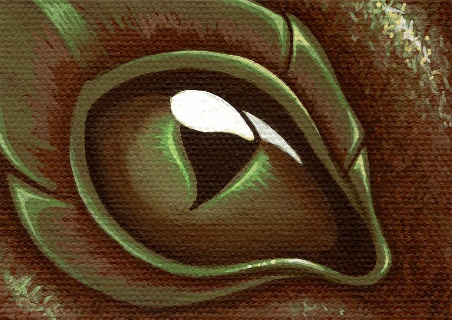 Brown Eye Painting - Eye Of The Forest Dragon Hatchling by Elaina  Wagner