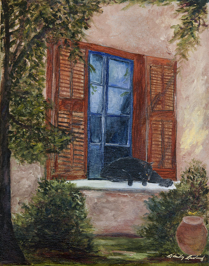 Cat Painting - Eye On The Sparrow by Shirley Lawing