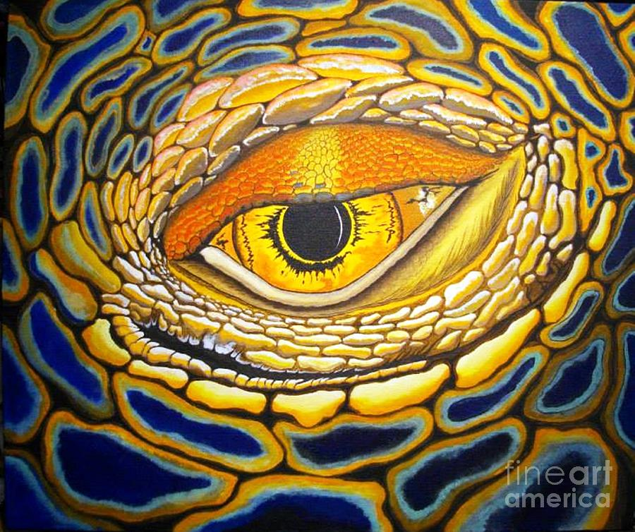 Reptile Painting - Eye On You by Barry Bridges
