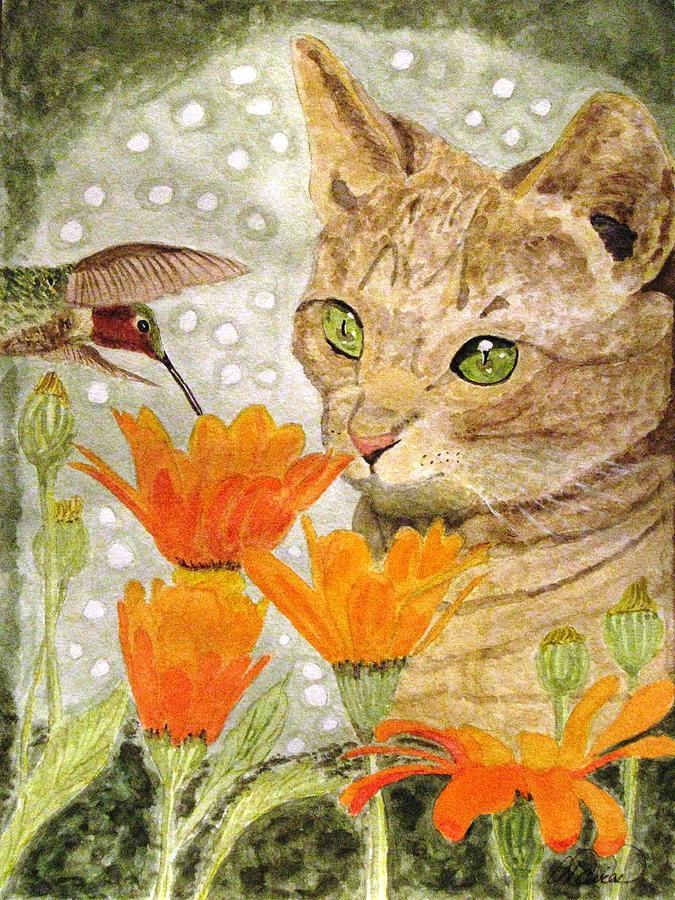 Kittens Painting - Eye To Eye by Angela Davies
