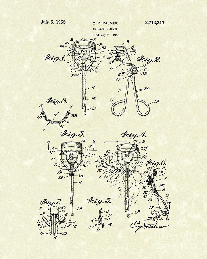 Palmer Drawing - Eyelash Curler 1955 Patent Art by Prior Art Design