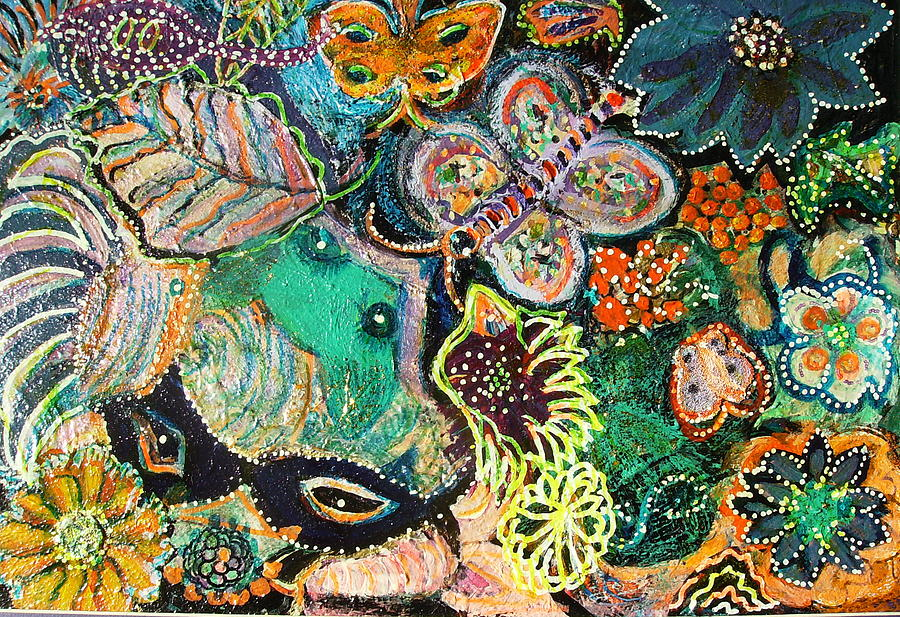 Colorful Mixed Media - Eyes In Hiding by Anne-Elizabeth Whiteway