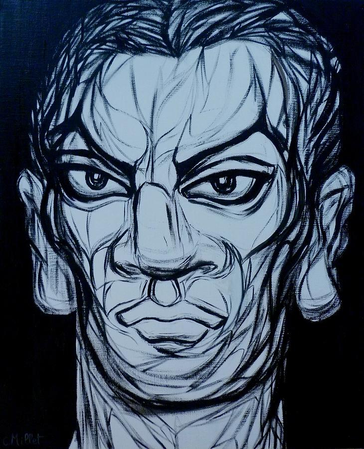 Determination Painting - Eyes Of Determination - Portrait Of Young Pablo Picasso by Cindy MILLET