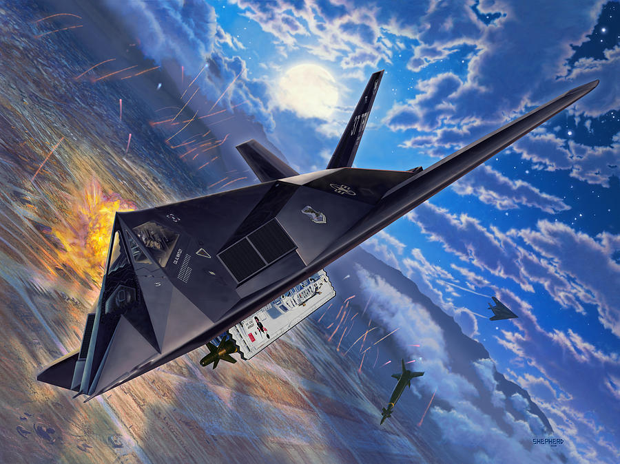 F-117 Digital Art - F-117 Nighthawk - Team Stealth by Stu Shepherd