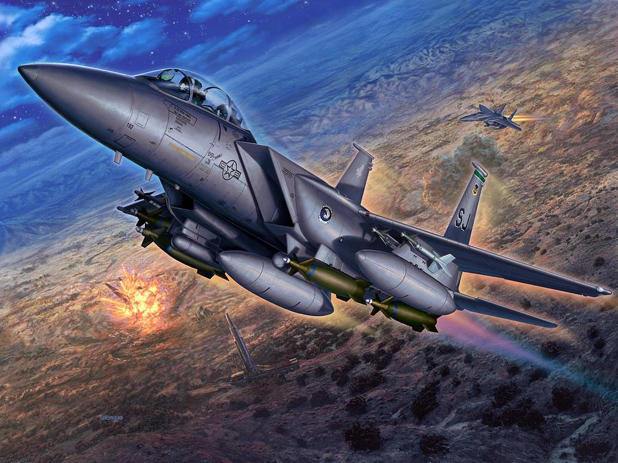 F 15 Digital Art - F-15e Strike Eagle Scud Busting by Stu Shepherd