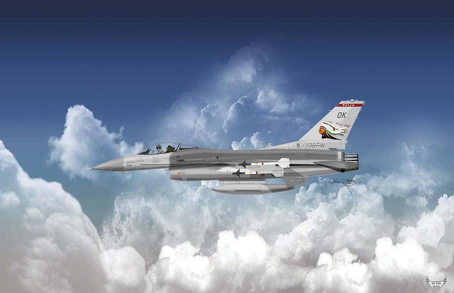 General Dynamics Digital Art - F-16c Falcon by Arthur Eggers
