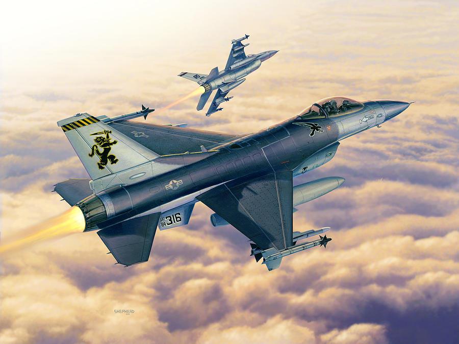 F-16 Painting - F-16c Sunset Falcons by Stu Shepherd