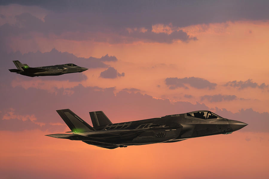 F-35 Fıghter Jets In Flight At Sunset Photograph by Guvendemir