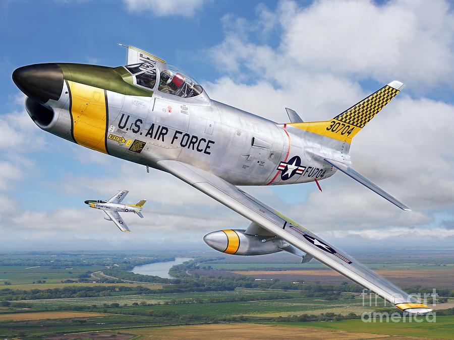 Sabre Digital Art - F-86l Of The 82nd Fis by Stu Shepherd