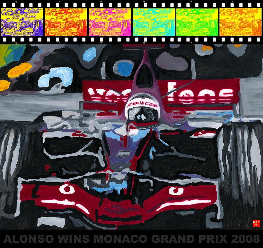 F1 Alonso Wins Monaco 2008 Pop 2 by Ran Andrews