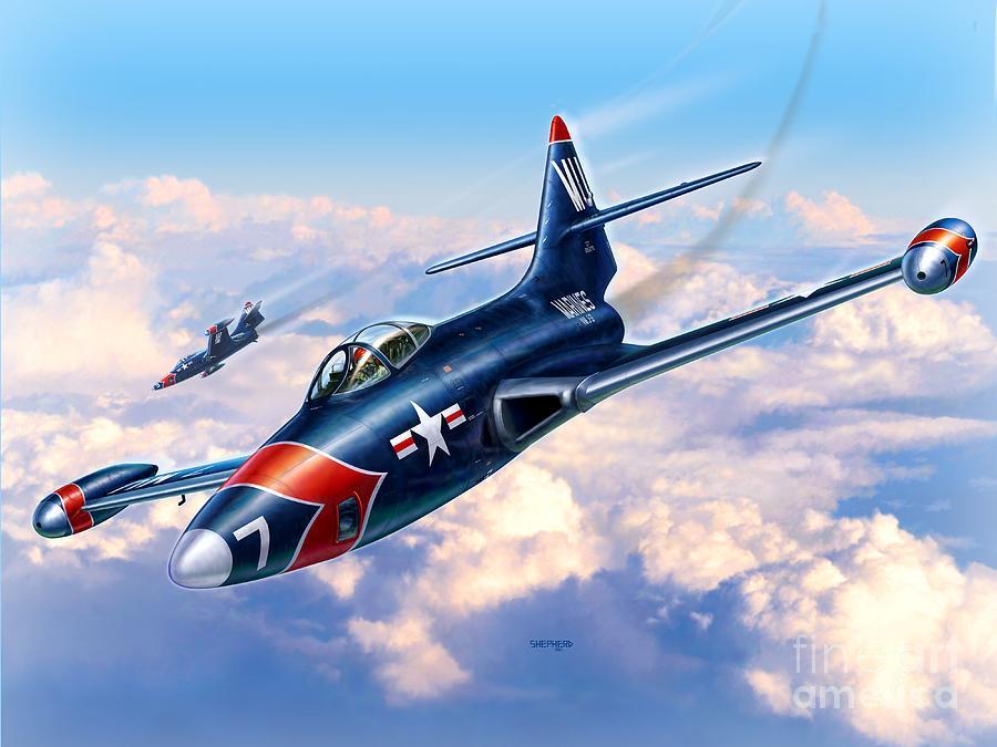 Panther Digital Art - F9F-5P Photo Panthers by Stu Shepherd