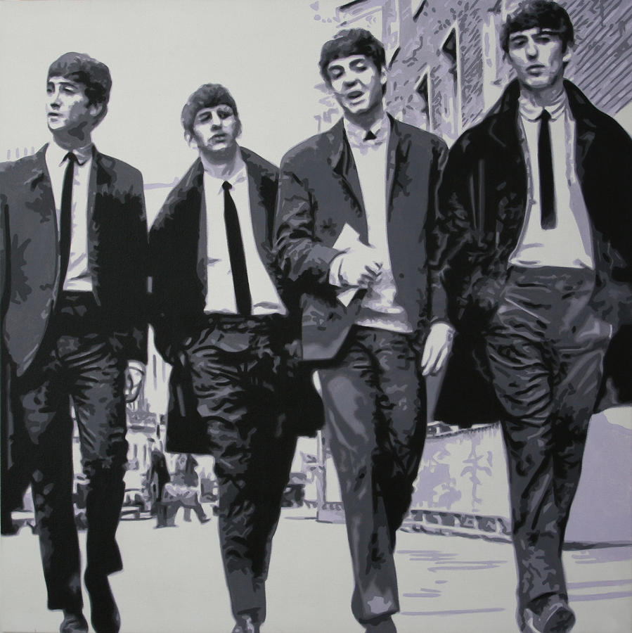 The Beatles Painting - Fab Four by Luis Ludzska
