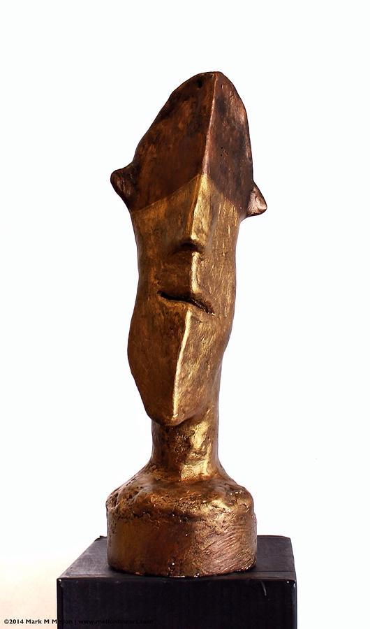 Figure Sculpture - Fabulas Bronze And Gold Idol by Mark M  Mellon