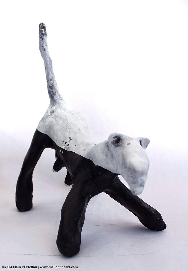 Dog Sculpture - Fabulas Canis Black And White Female  by Mark M  Mellon