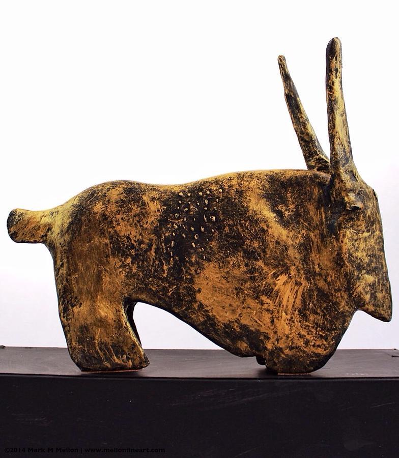 Bull Sculpture - Fabulas Gold Taurus  by Mark M  Mellon