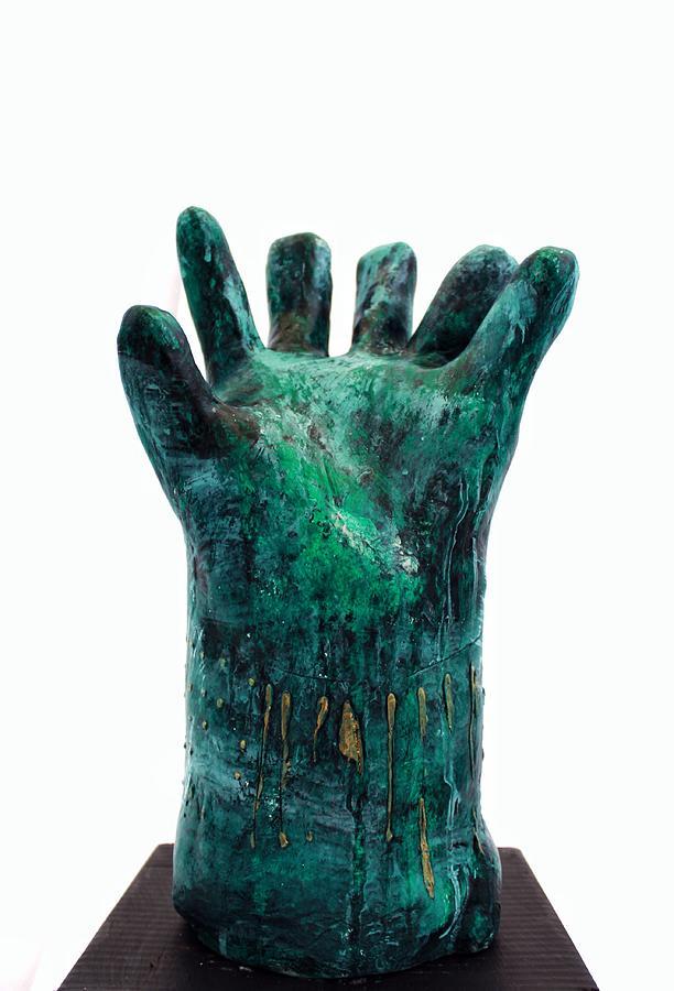 Hand Sculpture - Fabulas Malachite Hand by Mark M  Mellon