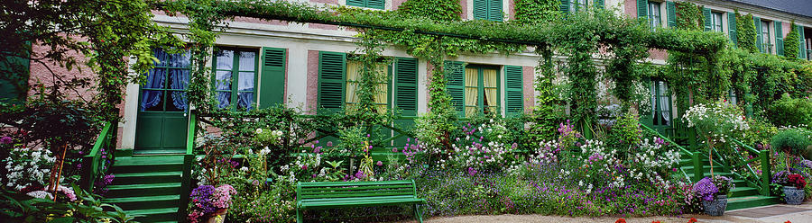 Horizontal Photograph - Facade Of Claude Monets House, Giverny by Panoramic Images