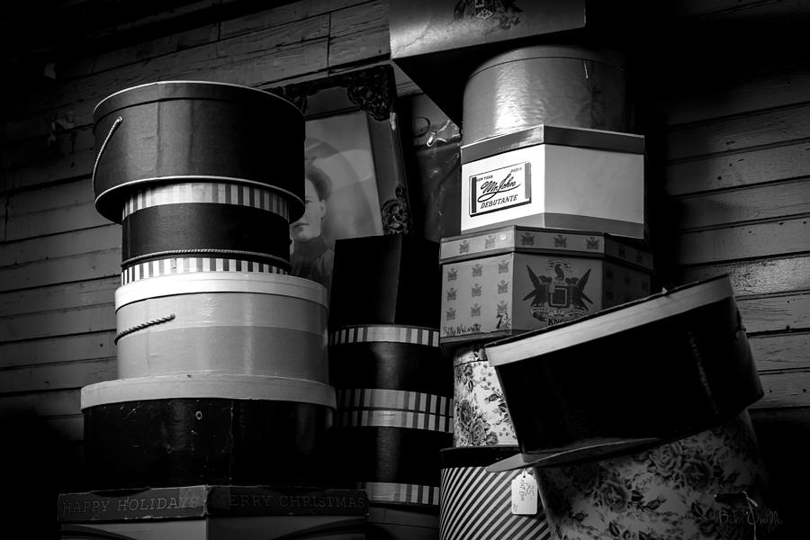 Hat Box Photograph - Face Behind The Hat Boxes by Bob Orsillo