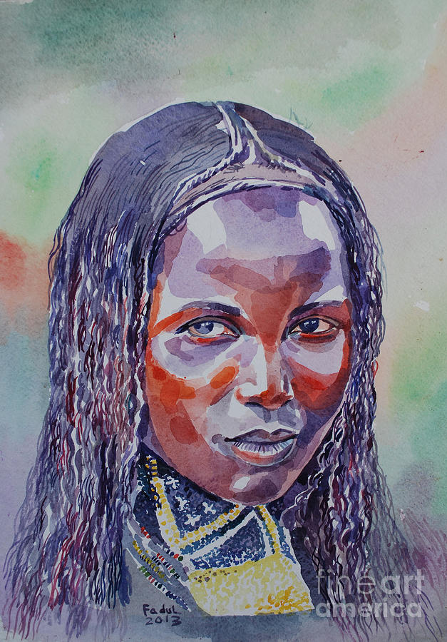 Face From Sudan  1 Painting by Mohamed Fadul