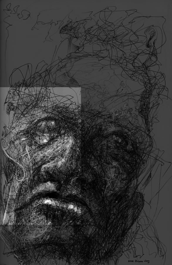 Male Face Digital Art - Face In Frame by Eddie Rifkind