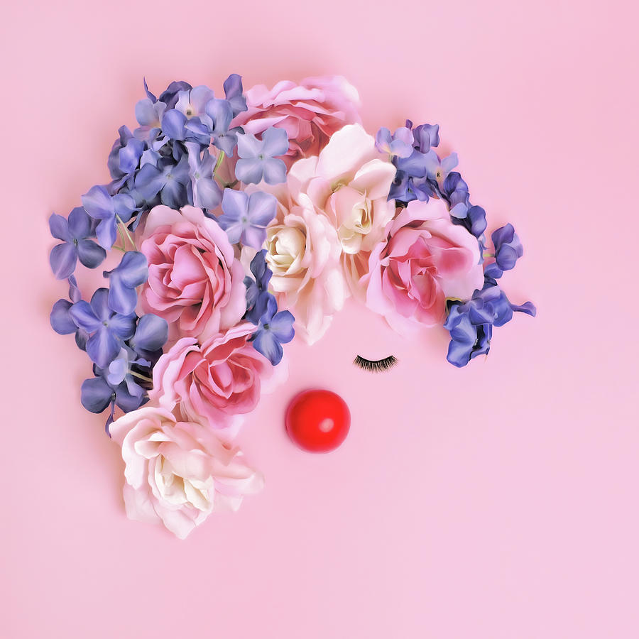 Non-profit Organization Photograph - Face Made From Flowers And False by Juj Winn
