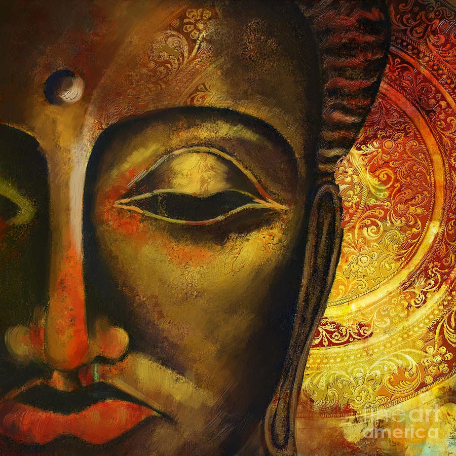 Face Of Buddha Painting - Face Of Buddha  by Corporate Art Task Force