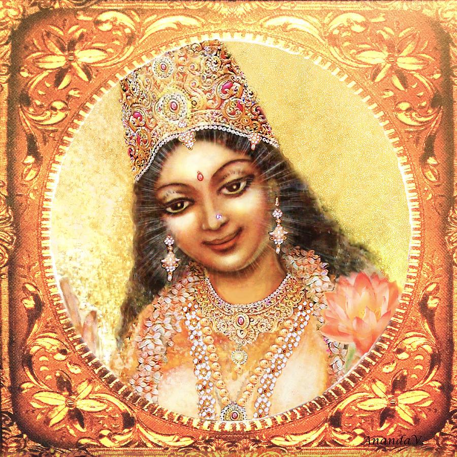 Goddess Painting Mixed Media - Face Of The Goddess - Lalitha Devi  by Ananda Vdovic