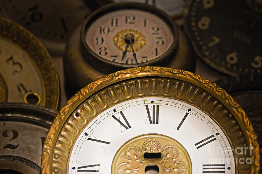 Clock Photograph - Face Of Time by Tom Gari Gallery-Three-Photography
