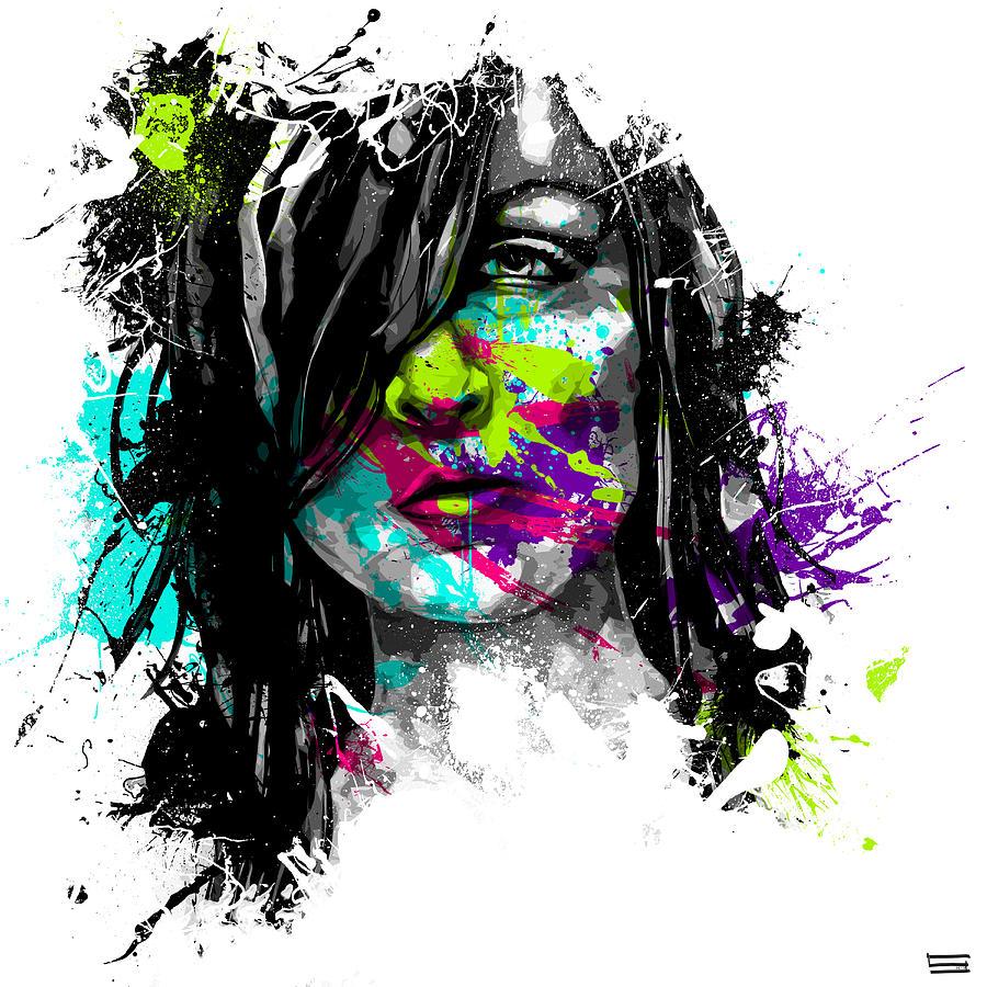 Female Digital Art - Face Paint 3 by Jeremy Scott