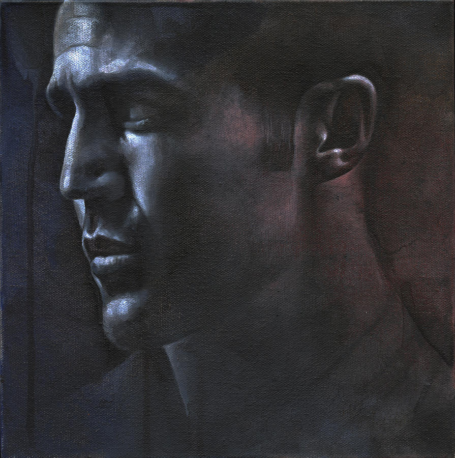Male Painting - Face Study In The Dark by Chris Lopez