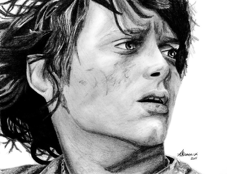 Frodo Drawing - Facing The Darkness by Kayleigh Semeniuk