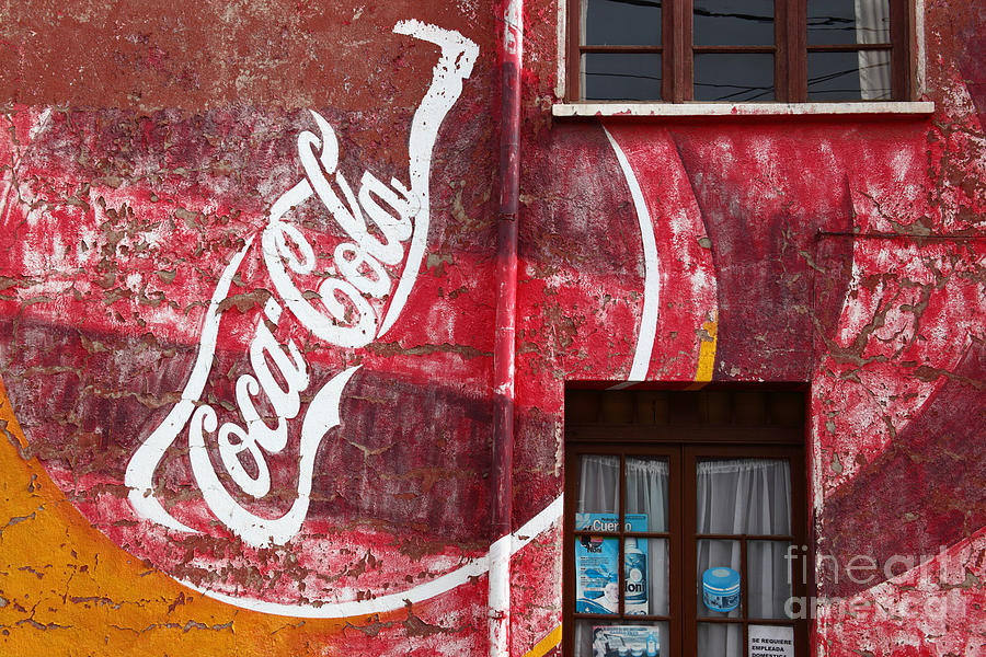 America Photograph - Faded Coca Cola Mural 1 by James Brunker