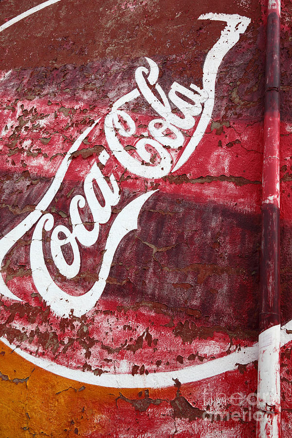 America Photograph - Faded Coca Cola Mural 2 by James Brunker