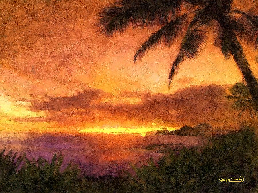 Sunset Painting - Fading Sunset by Wayne Pascall