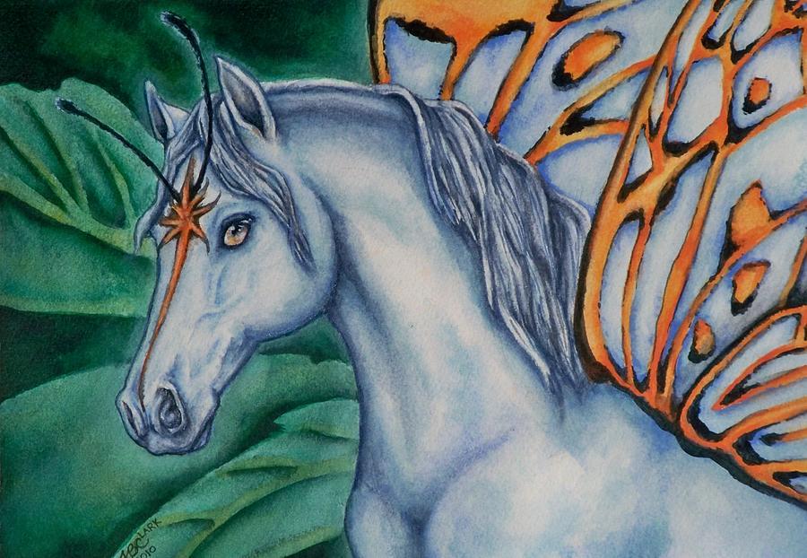 Fairies Painting - Faery Horse Star Fyre by Beth Clark-McDonal