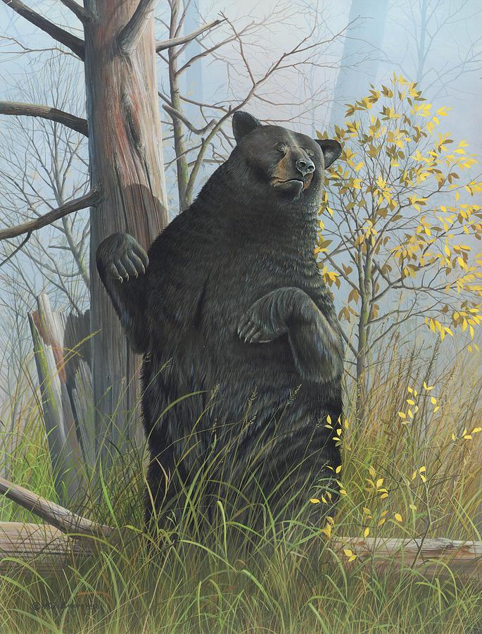 Black Bear Painting - Fair Warning by Mike Brown