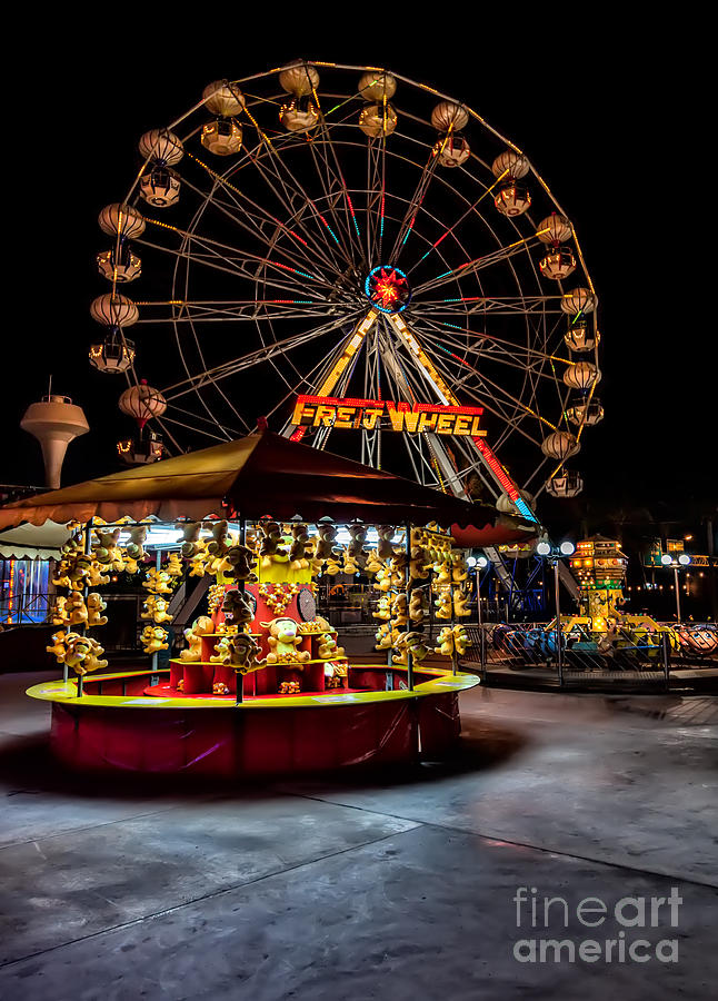 Carnival Photograph - Fairground At Night by Adrian Evans