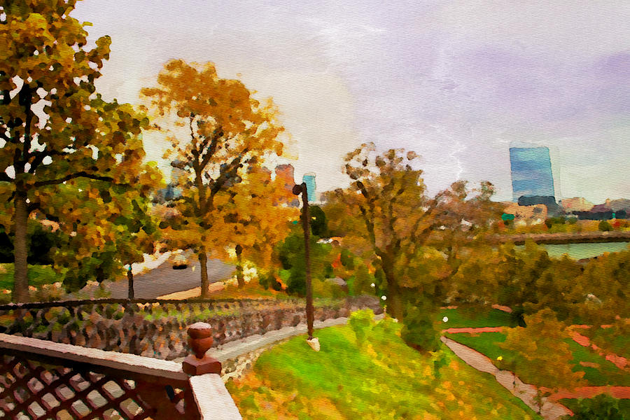 Fairmount Park Philadelphia Cira Center Scenic Alicegipsonphotographs Pyrography - Fairmount View by Alice Gipson