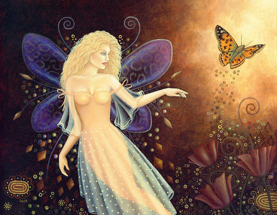 Fairy Painting - Fairy And Poppies by B K Lusk