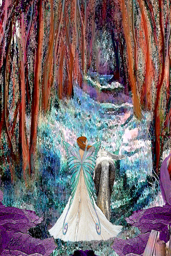 Fairy And Unicorn Forest Walk Painting