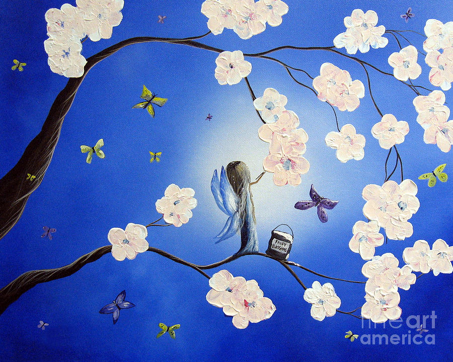 Butterfly Painting - Fairy Blossoms By Shawna Erback by Shawna Erback