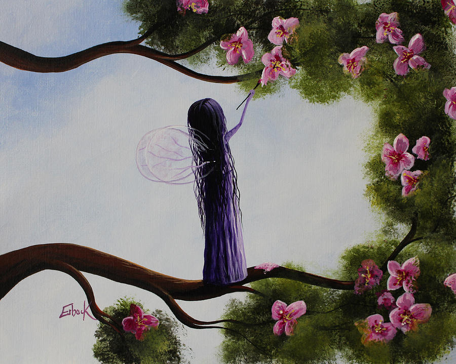 Fairy Painting - Fairy Blossoms Original Whimsical Art by Erback Art