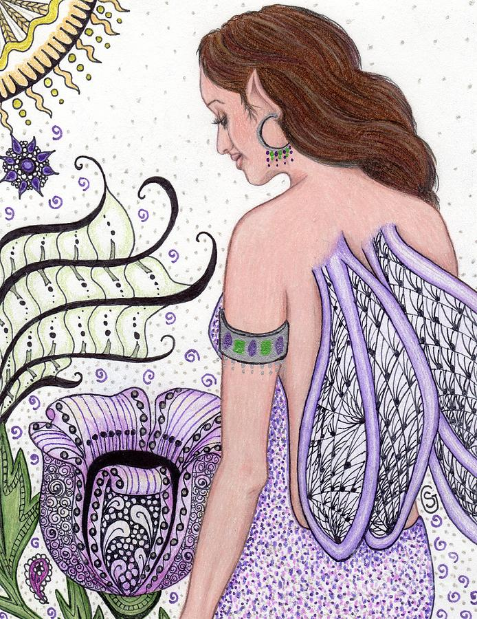 Fairy Drawing - Fairy -- I Just Love My Poppy by Sherry Goeben