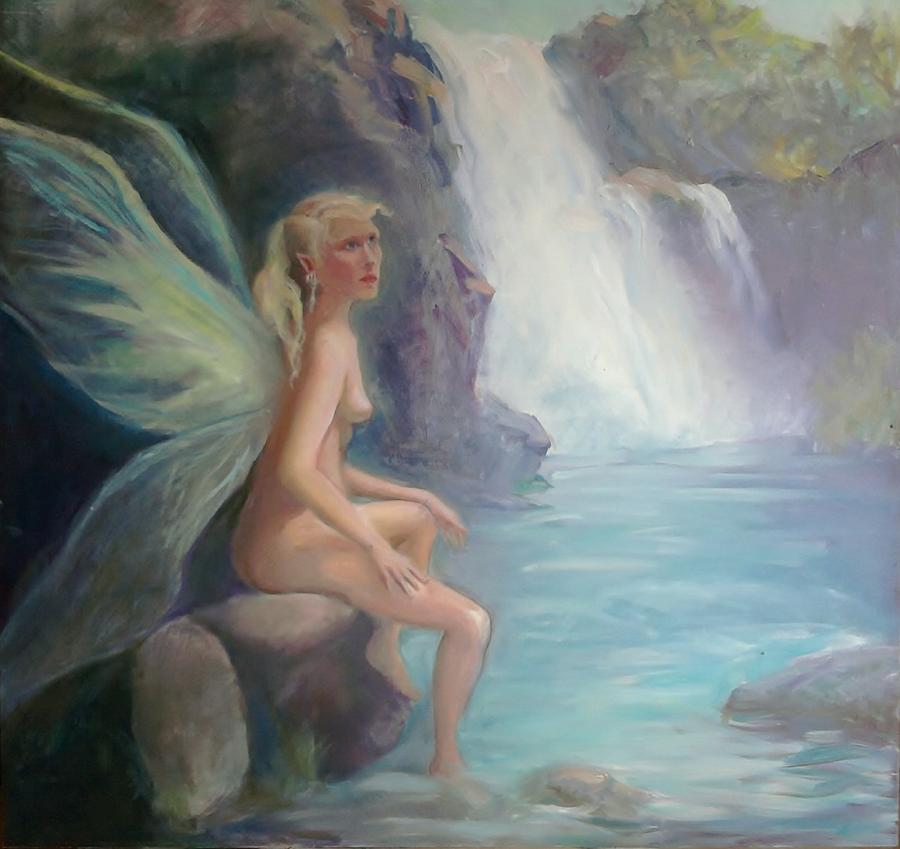 Fairy Painting - Fairy Of The Secret Falls by Gwen Carroll