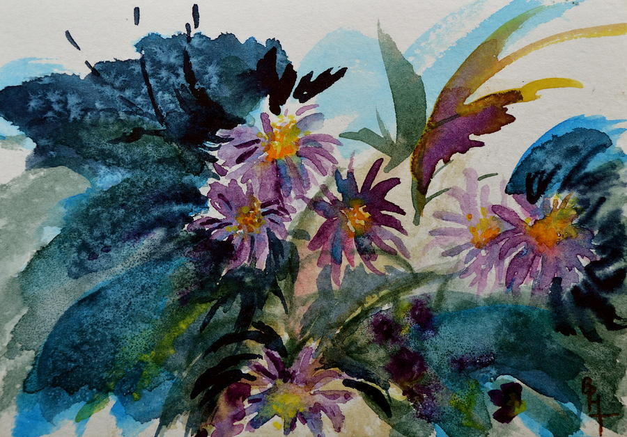 Aster Painting - Fairyland Asters by Beverley Harper Tinsley