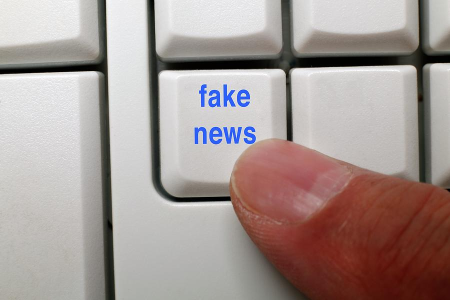 21st Century Photograph - Fake News Key On A Computer Keyboard by Victor De Schwanberg/science Photo Library